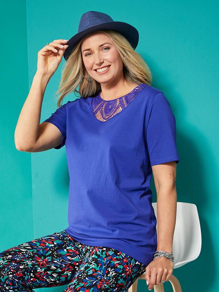 MIAMODA Shirt mit transparenter Spitze am Ausschnitt, Royalblau