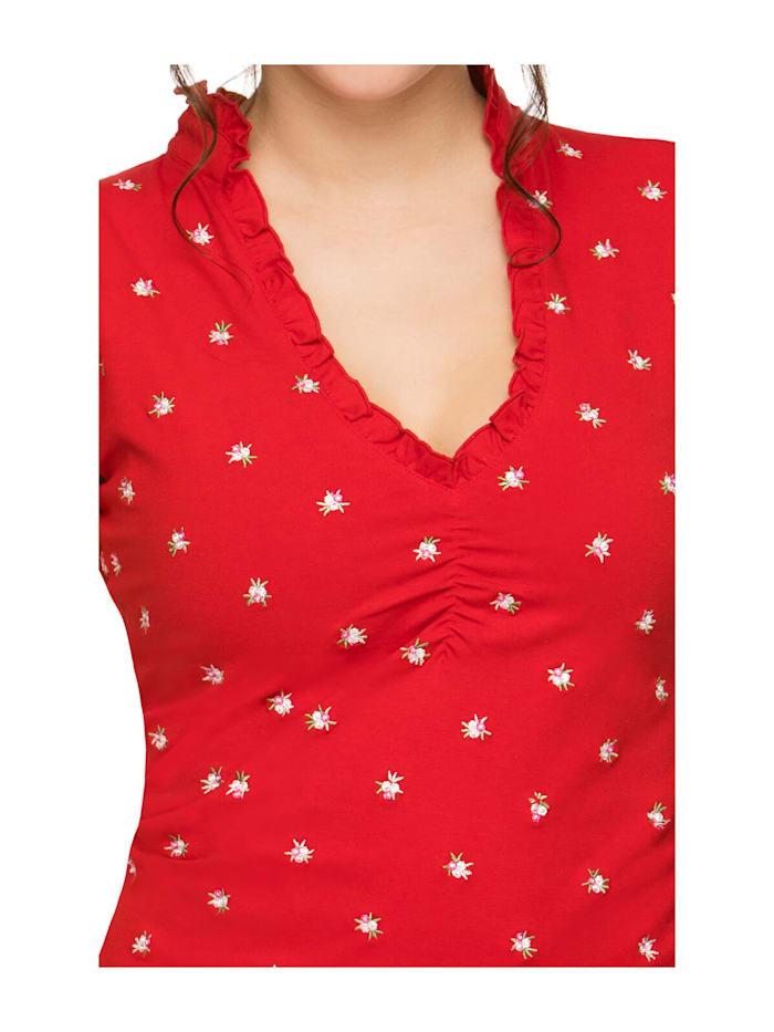 Trachten T-Shirt V-Ausschnitt TEA rot