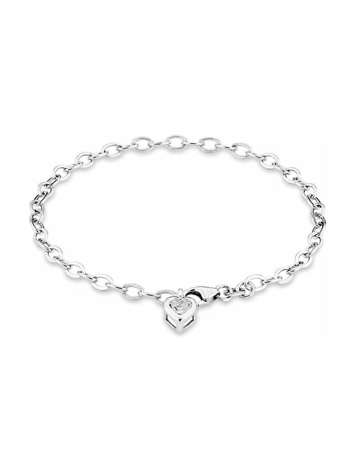amor Armband für Damen, Sterling Silber 925, Zirkonia Herz, Silber