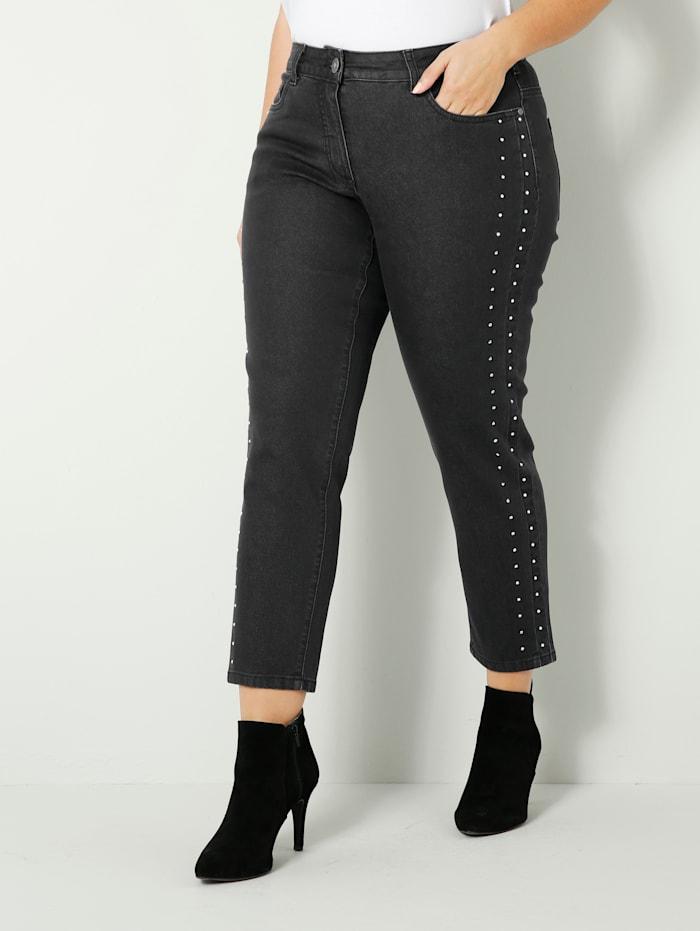 Sara Lindholm Jeans met strassteentjes, Zwart