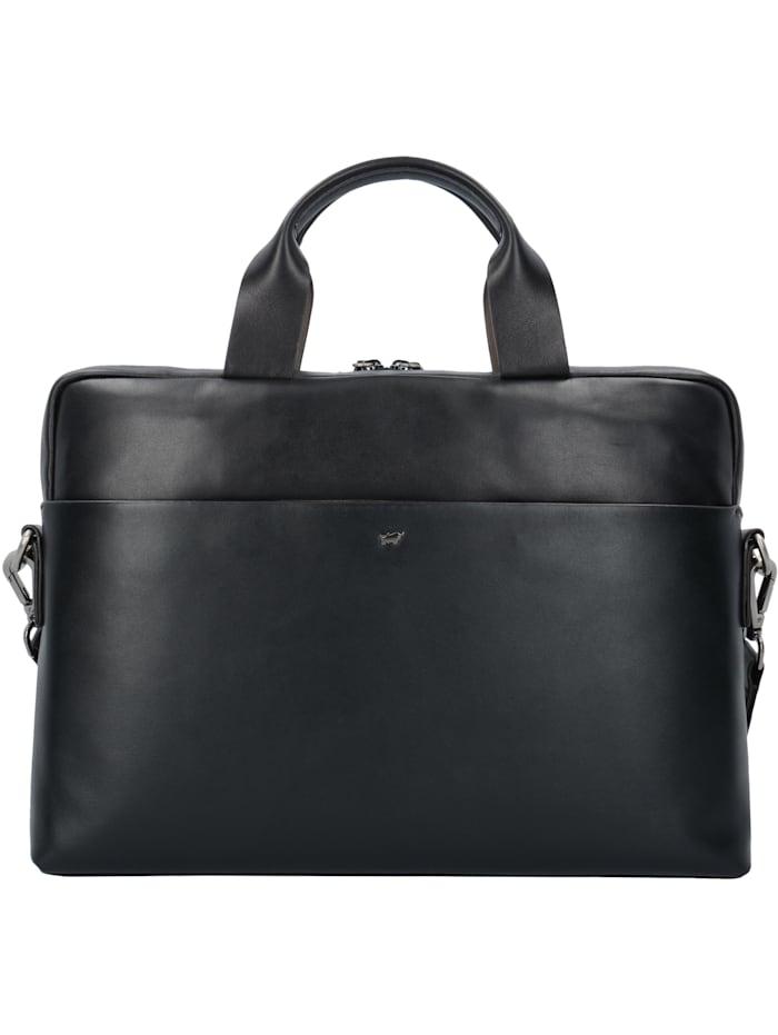 Braun Büffel Livorno L Aktentasche Leder 39 cm Laptopfach Tragegriff, Stiftelaschen, Platz für kleinen Aktenordner, schwarz