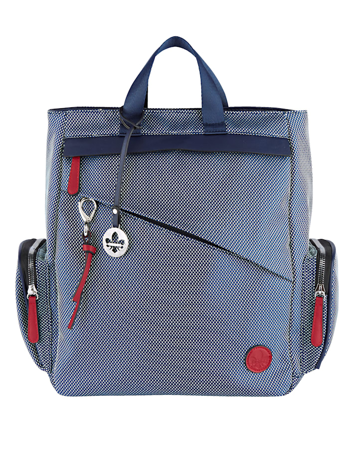 Rieker Backpack with a unique outer zip pocket, Steel Blue