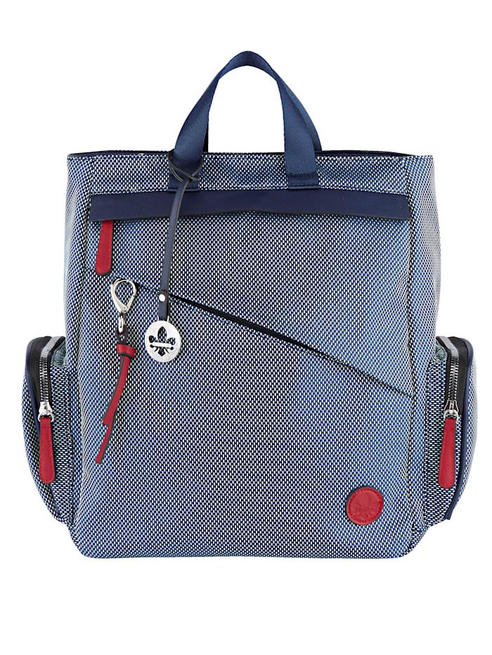 Rieker Rucksack mit diagonalem Reißverschlussfach, jeansblau