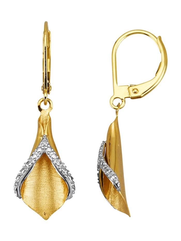 Diemer Highlights Boucles d'oreilles avec diamants, Coloris or jaune