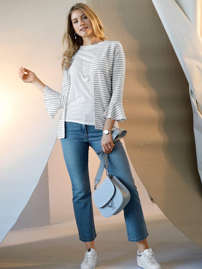 AMY VERMONT Shirtjacke im Streifen-Dessin, Off-white/Silberfarben