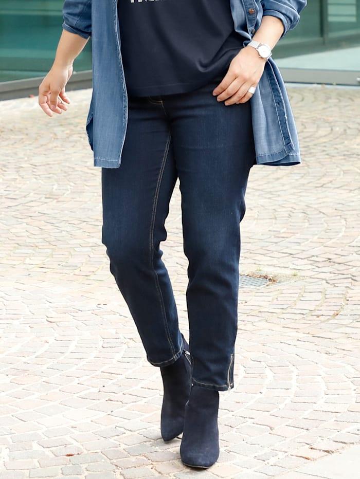 Sara Lindholm Slim Fit Jeans mit Ziernieten, Dunkelblau