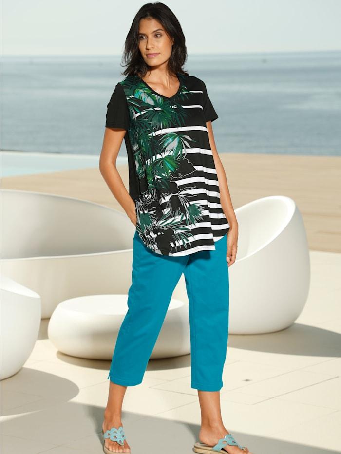 Maritim Strandshirt mit modischem Druck, Schwarz/Weiß/Grün