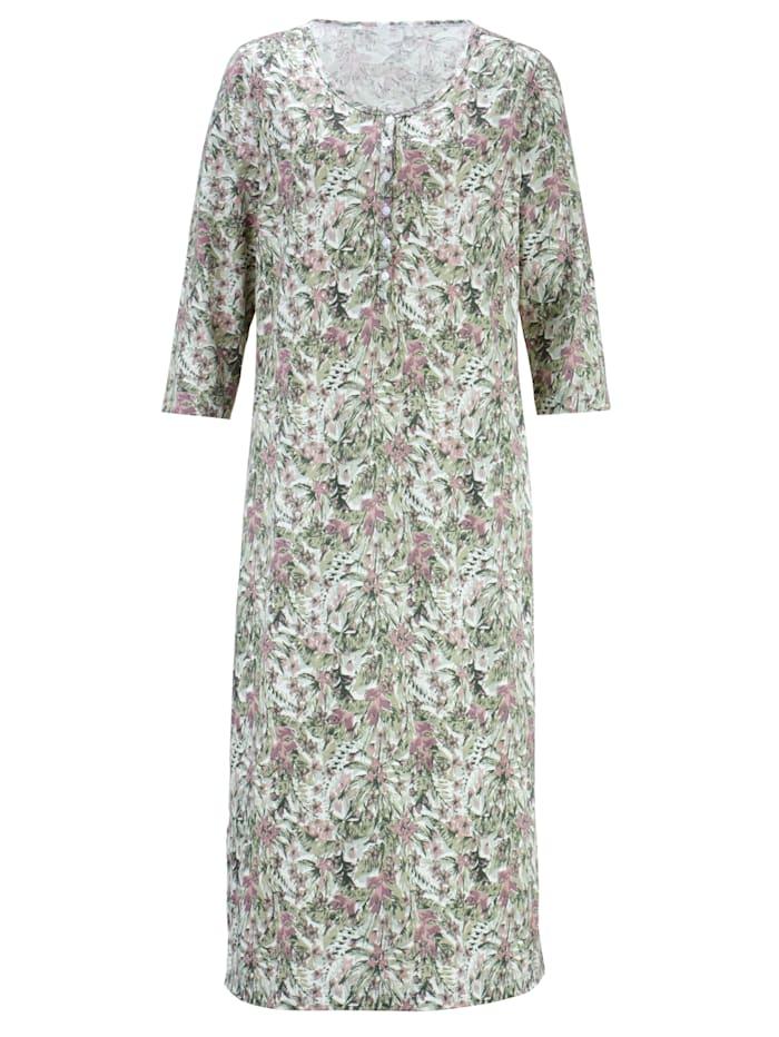 Harmony Nachthemd met trendy jungledessin, oudroze/rozenhout/jadegroen