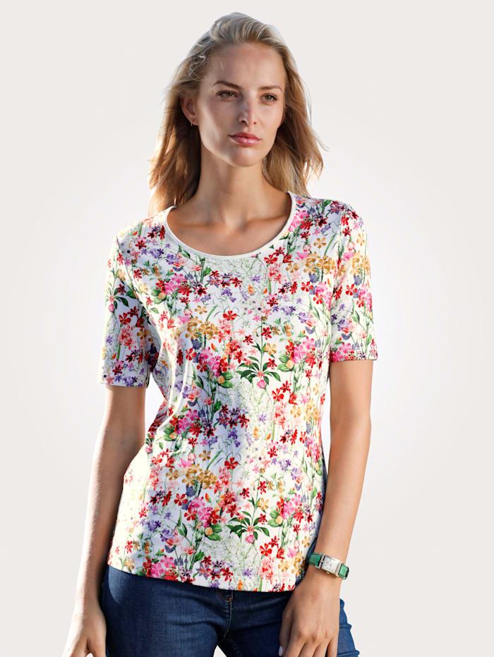 MONA T-shirt à imprimé millefleurs, Blanc/Rouge/Vert