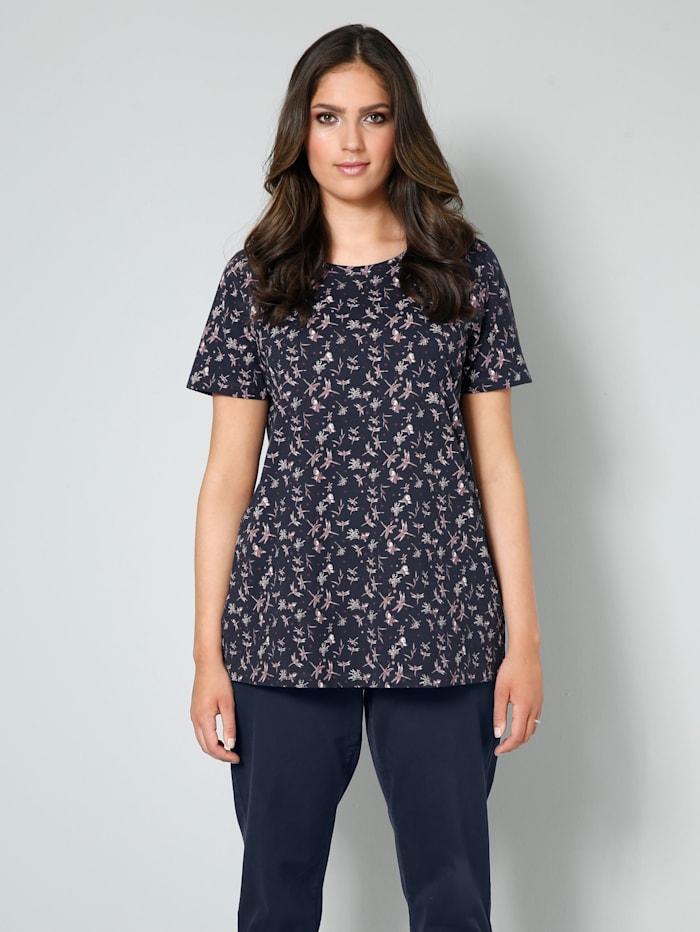 Janet & Joyce Shirt aus reiner Baumwolle, Marineblau/Aubergine