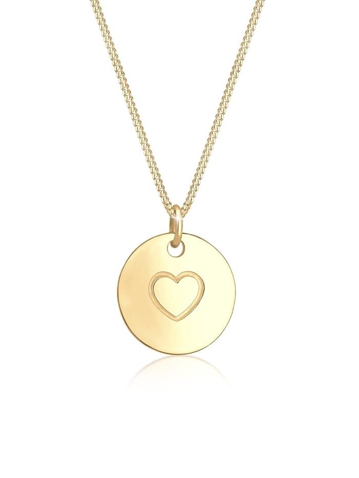 Elli Halskette Herz Münze Love Geo Platte 925Er Sterling Silber, Gold