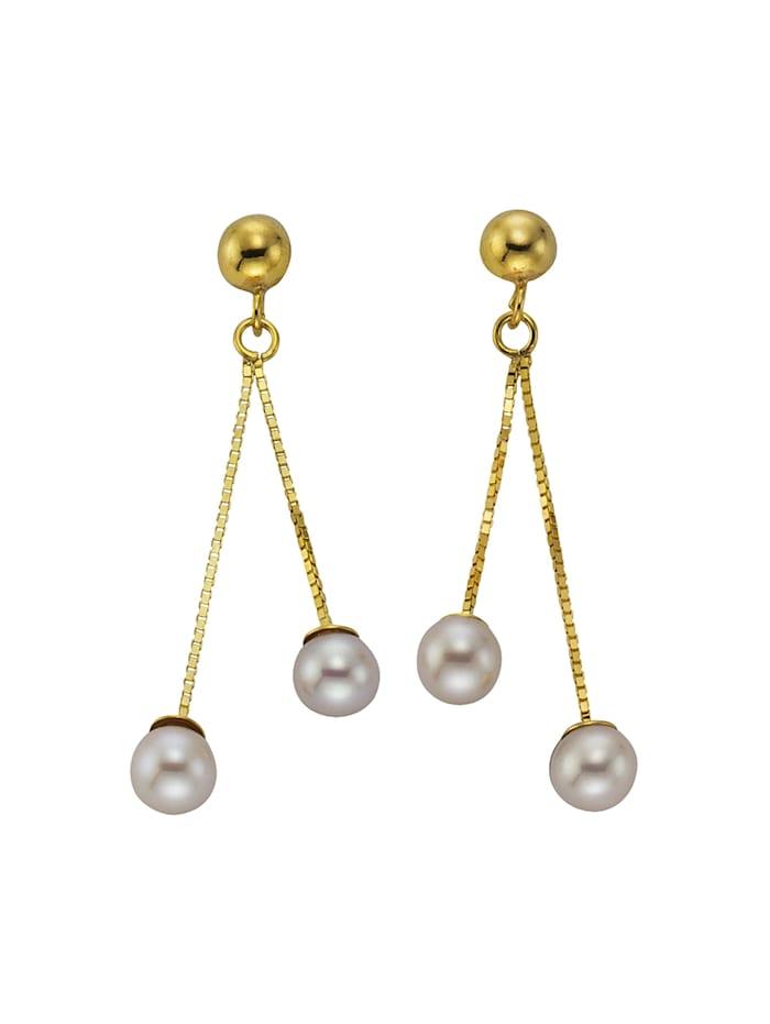 Ohrhänger 333/- Gold Süßwasserzuchtperle weiß 3,3cm Glänzend 333/- Gold