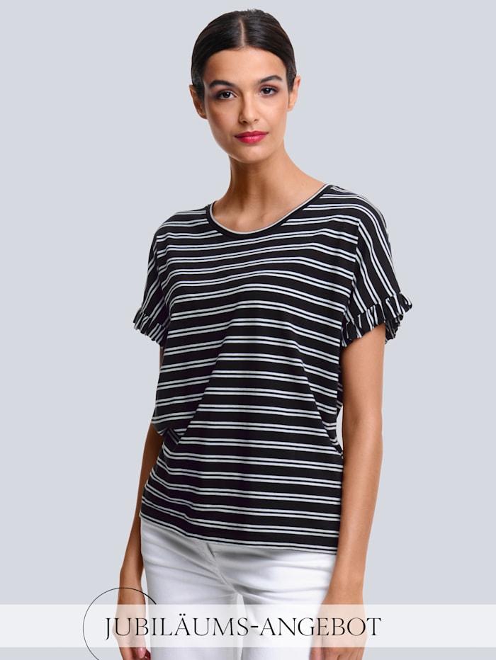 Alba Moda Shirt mit angesetzem Volant, Schwarz/Off-white