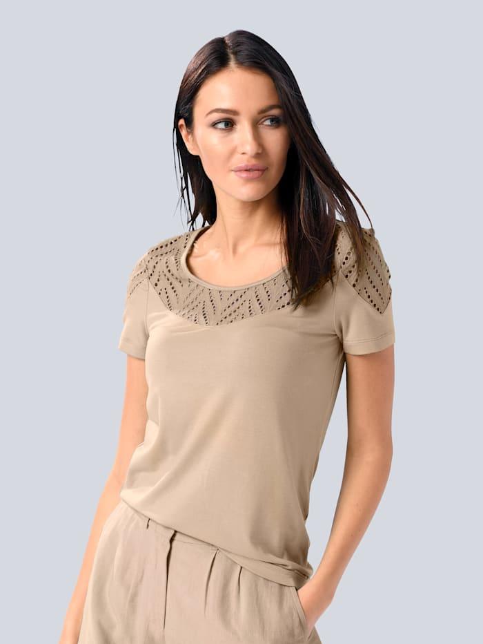Alba Moda Shirt mit Lochsticker, Creme-Weiß