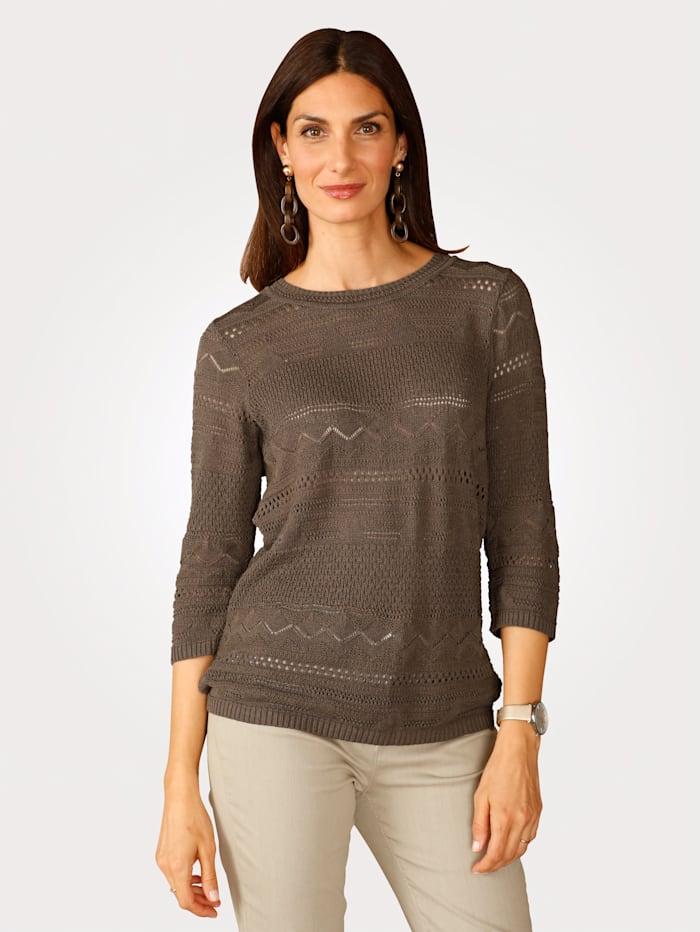 MONA Pullover mit Leinenfaseranteil, Khaki