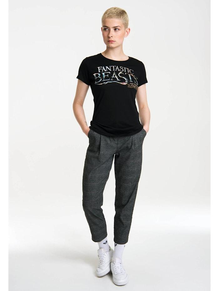 Logoshirt T-Shirt Phantastische Tierwesen mit mystischem Logo-Print, schwarz
