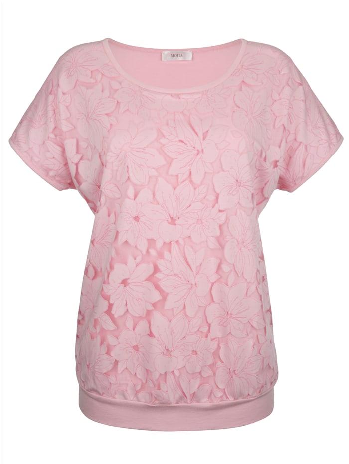MONA Shirt in floraler Ausbrennerware, Rosé