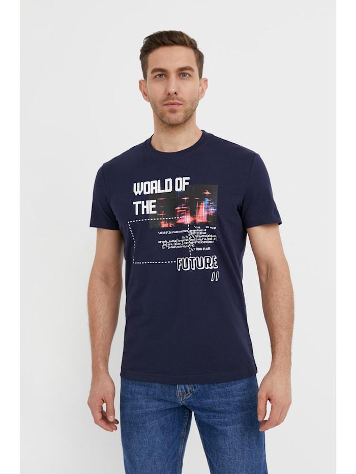 Finn Flare Kurzarmshirt - mit großem Brust-Print, dark blue
