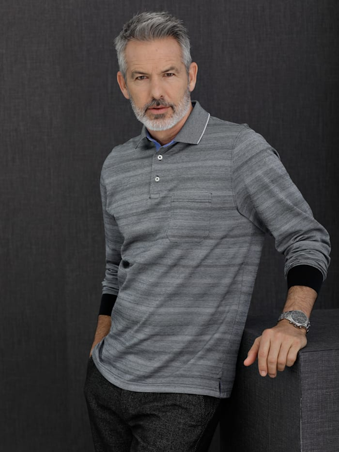 Babista Premium Poloshirt met jacquardpatroon, Zilvergrijs