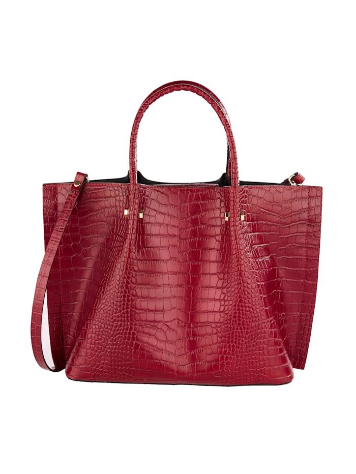 Handtasche 2-tlg mit Krokoprägung 2-teilig, rot-kroko