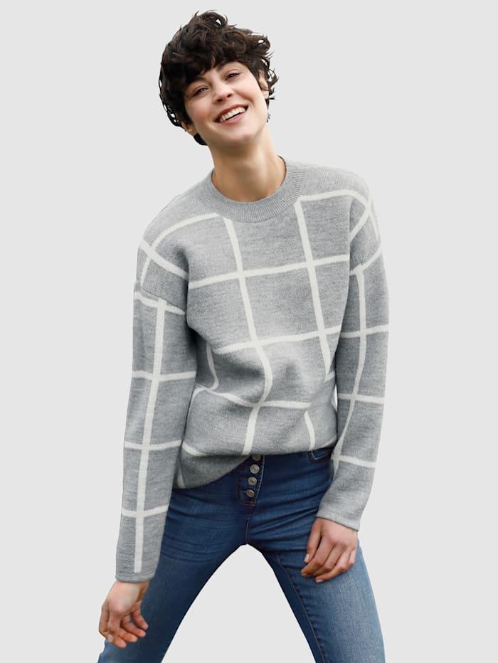 Dress In Tröja med rutmönster, Grå/Offwhite