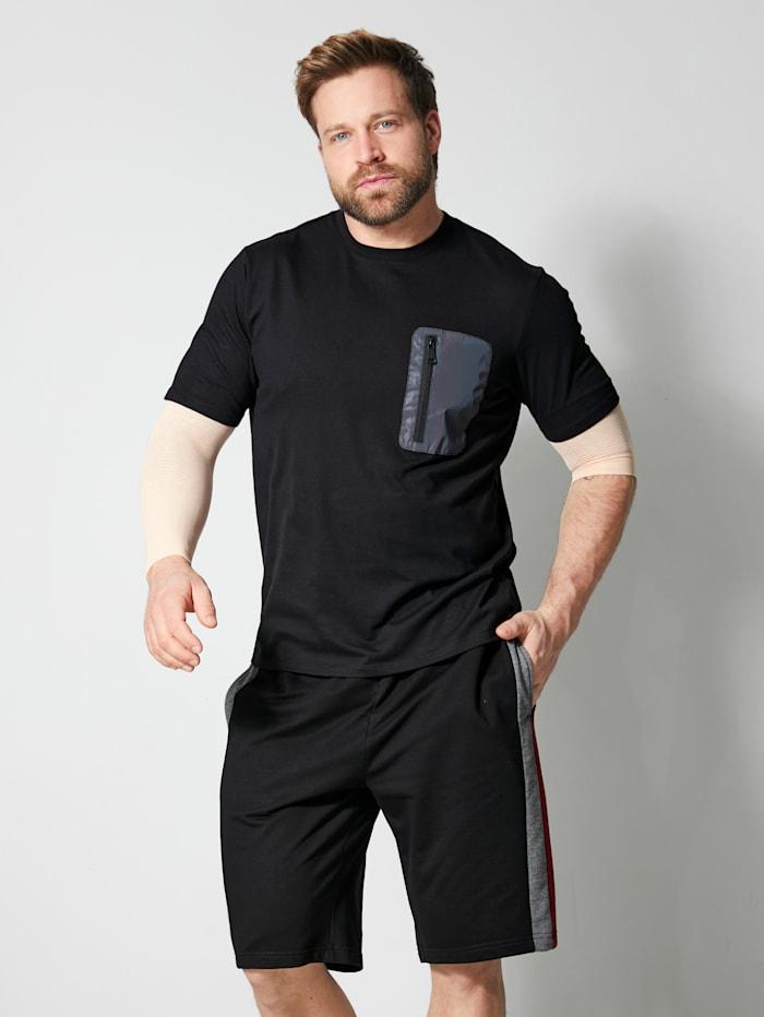 Men Plus T-Shirt mit einer Brusttasche, Black