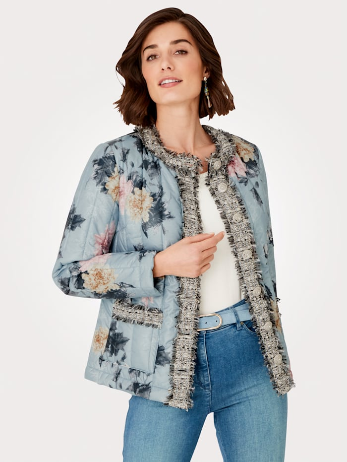 MONA Quilted jacket in a gorgeous floral print, Light Blue/Rosé/Beige