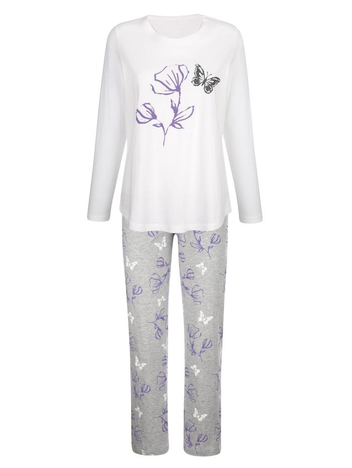 Blue Moon Pyjamas with a floral print, Ecru/Grey/Purple