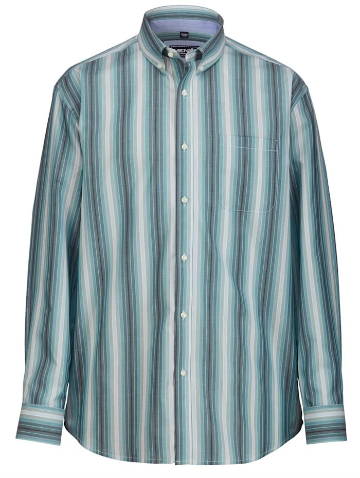 Men Plus Hemd mit Button-Down-Kragen, Mintgrün/Hellblau/Grün