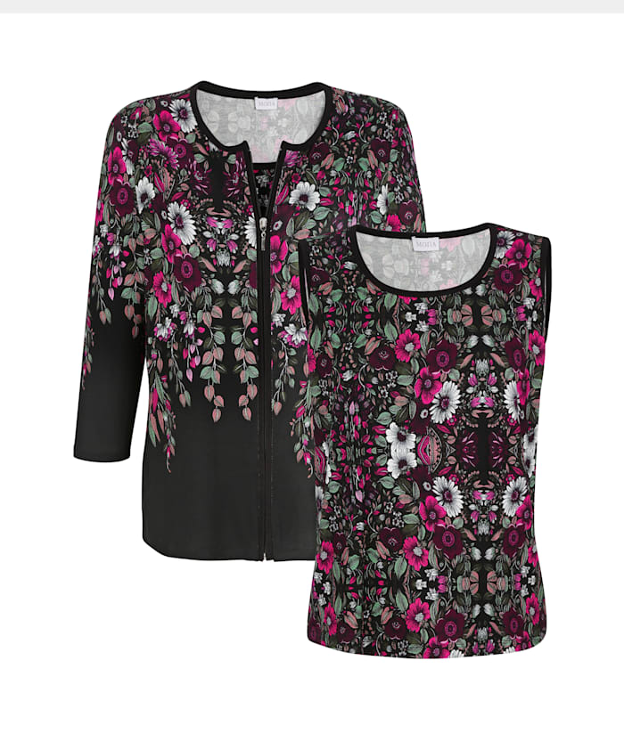MONA Twinset with a placed floral print, Black/Berry/White