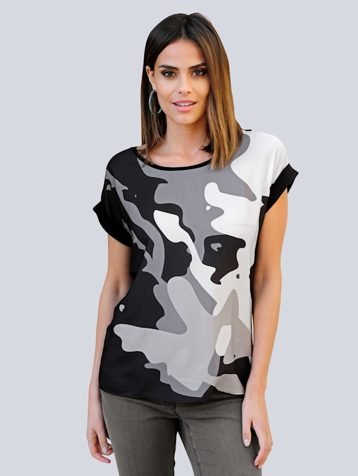 Alba Moda Shirt im exclusiven Dessin nur bei Alba Moda, Grau/Beige