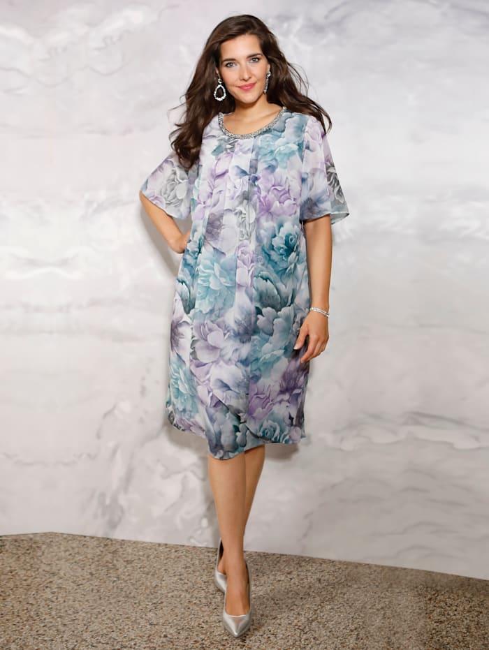 m. collection Kleid mit Dekoelement am Ausschnitt, Flieder/Anthrazit