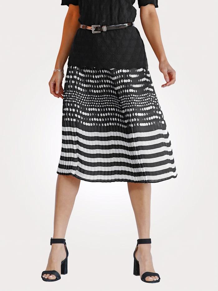 MONA Jupe plissée Motif à pois, Noir/Blanc