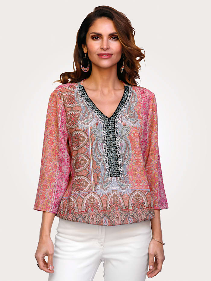 MONA Pull-on blouse with a paisley print, Rosé/Light Blue/Mint
