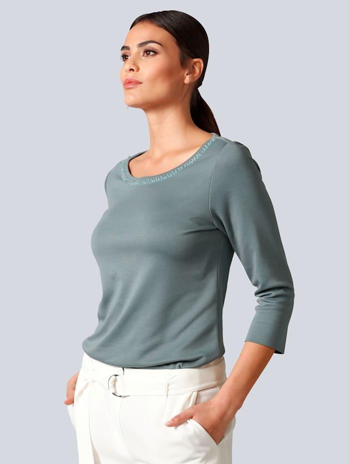 Alba Moda Shirt mit Paillettenbesatz am Ausschnitt, Salbeigrün