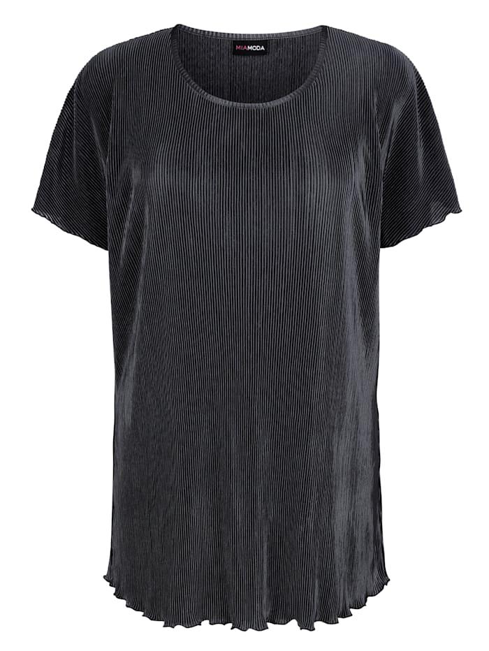 MIAMODA Shirt in Plissee Qualität, Silberfarben
