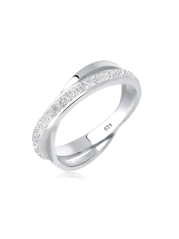 Elli Ring Wickelring Emaille 925 Sterling Silber, Silber