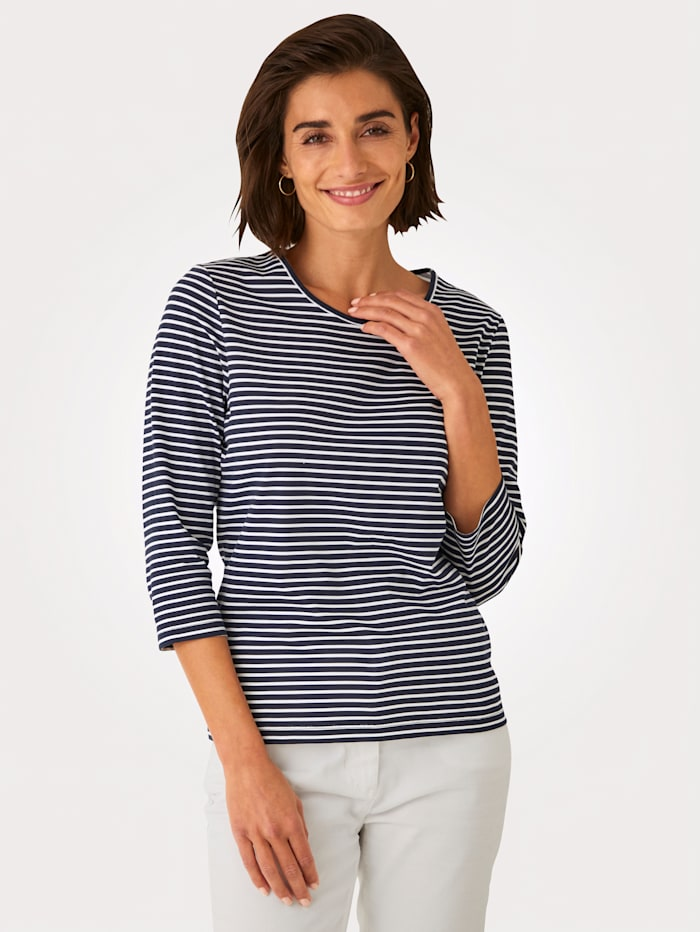 MONA Top made from pure cotton, Navy/White