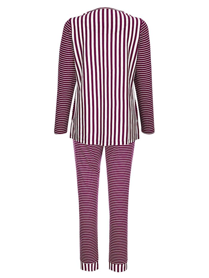 Simone Schlafanzug im hübschen Ringeldessin, Ecru/Bordeaux