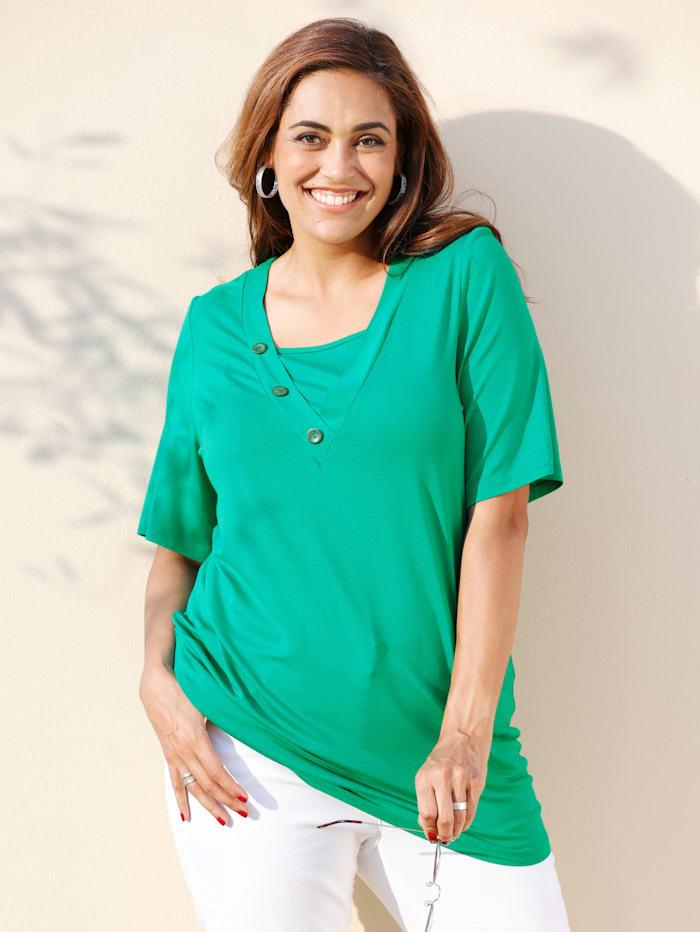 MIAMODA Shirt mit dekorativen Knöpfen am Ausschnitt, Grün