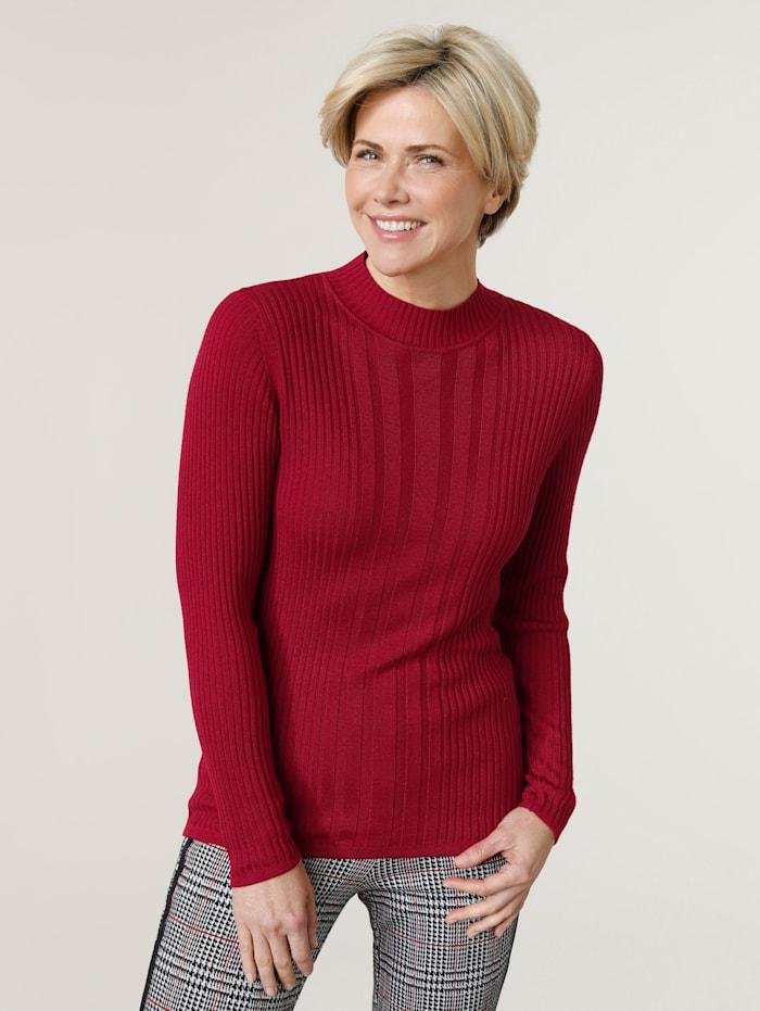 MONA Pullover aus Rippenstuktur, Rot