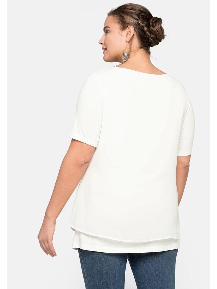 Sheego Blusenshirt im Layerlook mit rundem Ausschnitt