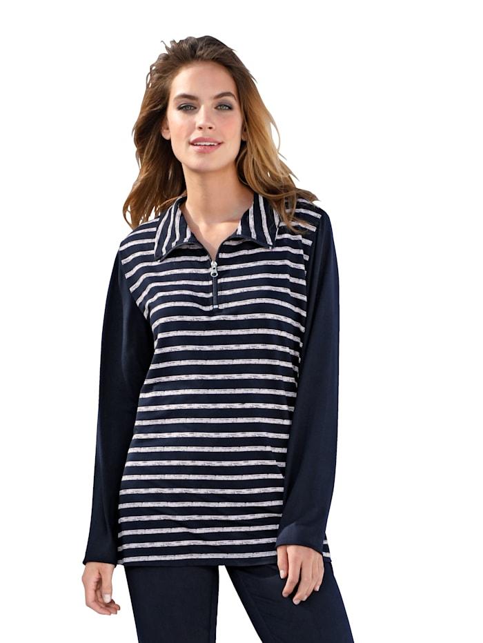 Simone Sweatshirt Troyer collar, Rose/Navy