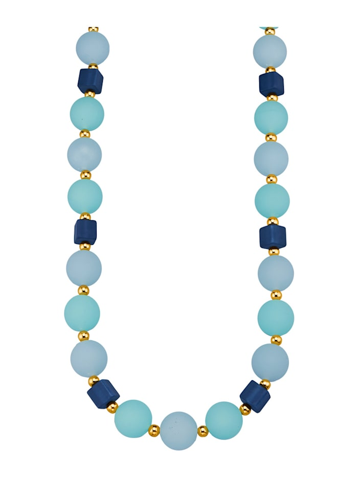 Halsband med glaskulor, Blå