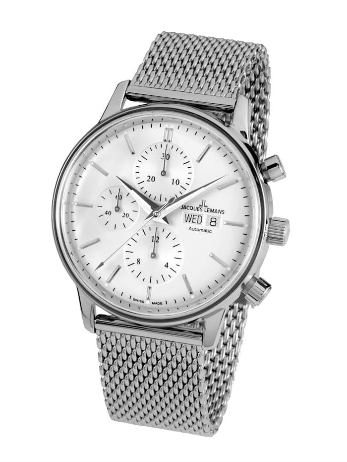 Jacques Lemans Herren- Uhr-Automatik-Chronograph Serie: Retro Classic Valjoux: N- 208E, Silberfarben
