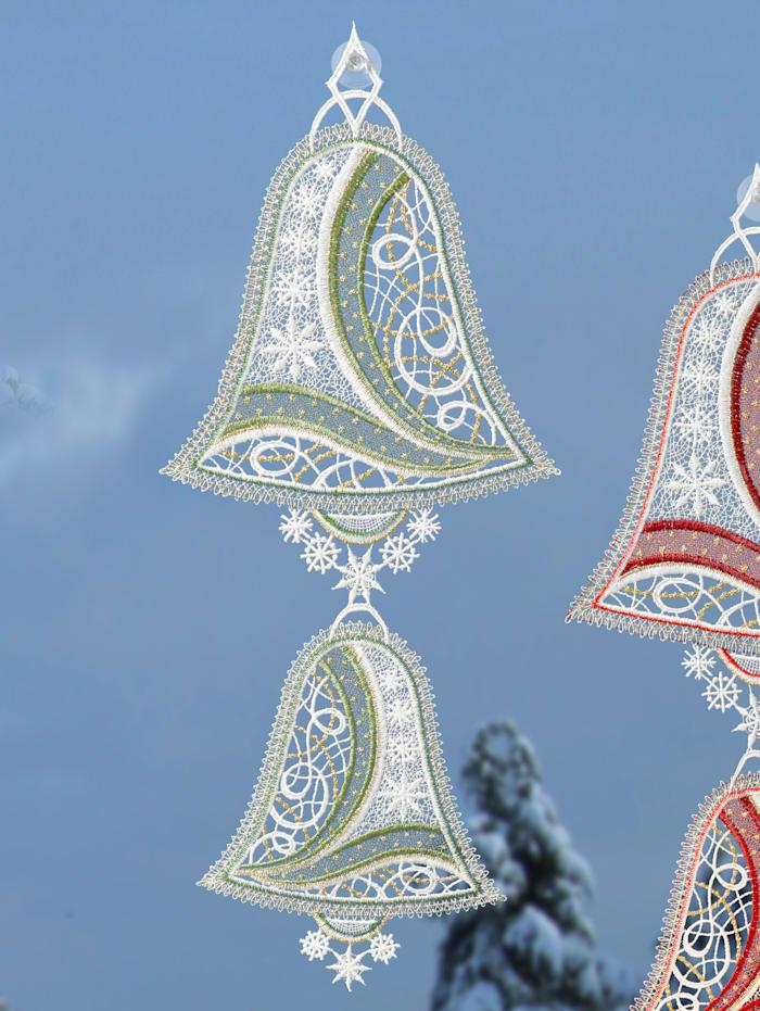 Stickereien & Textilien Raamdecoratie Klokken, groen