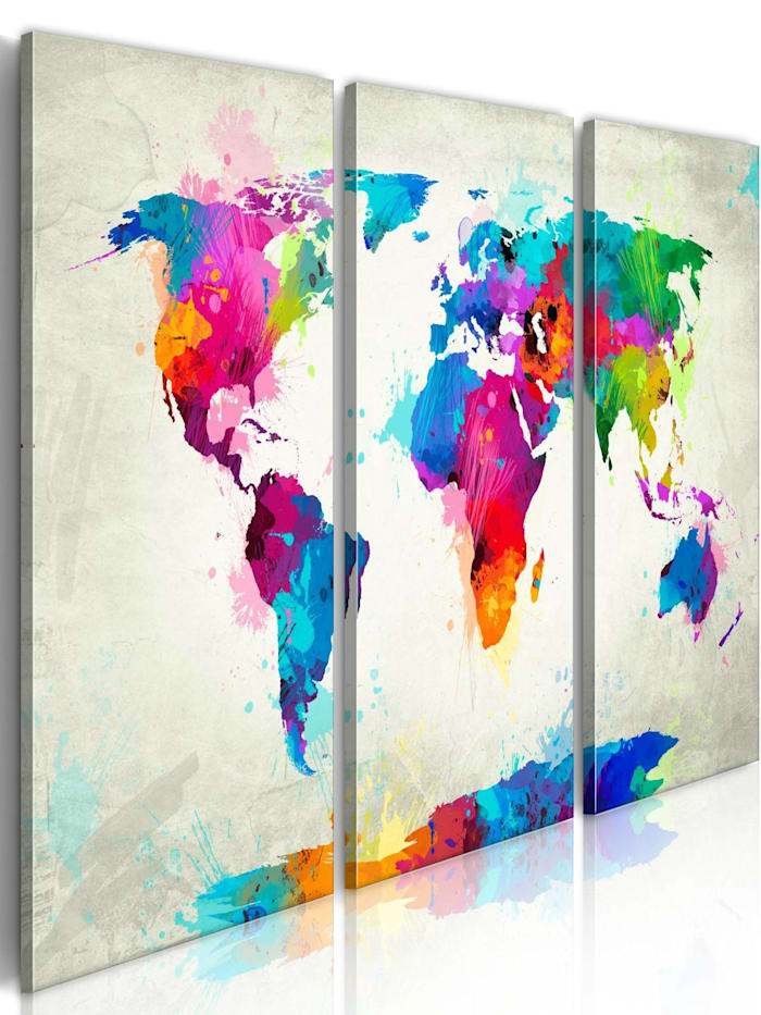 artgeist Wandbild World Map: An Explosion of Colors, mehrfarbig