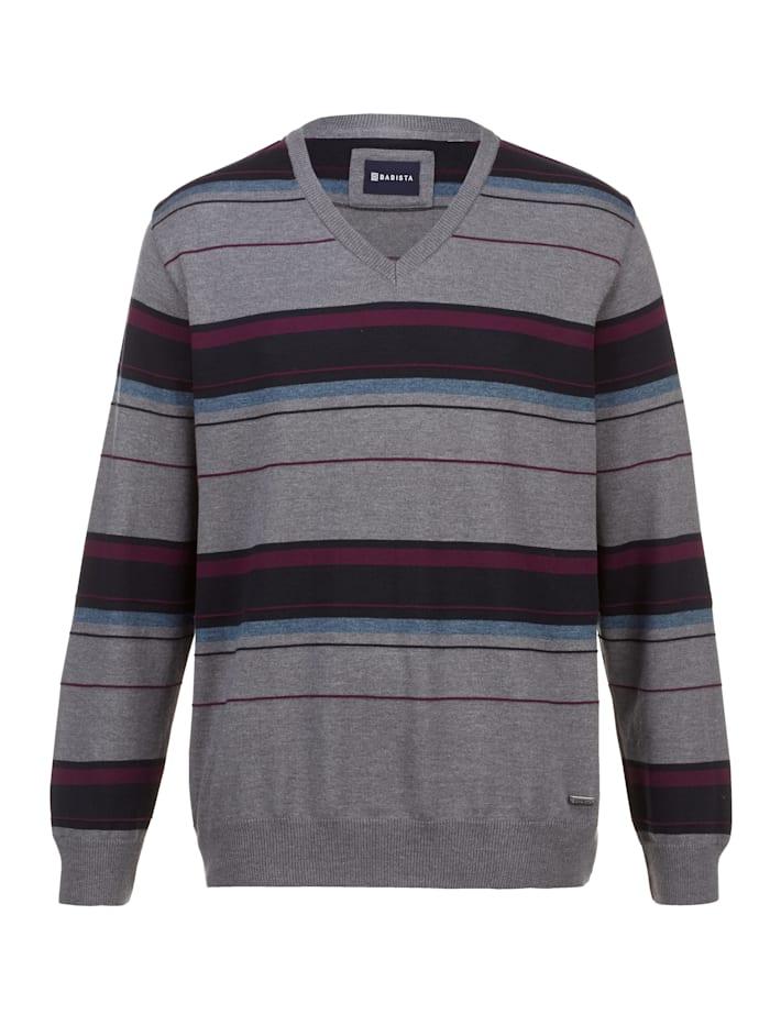 BABISTA Pullover mit feiner Streifenstruktur, Grau/Beere