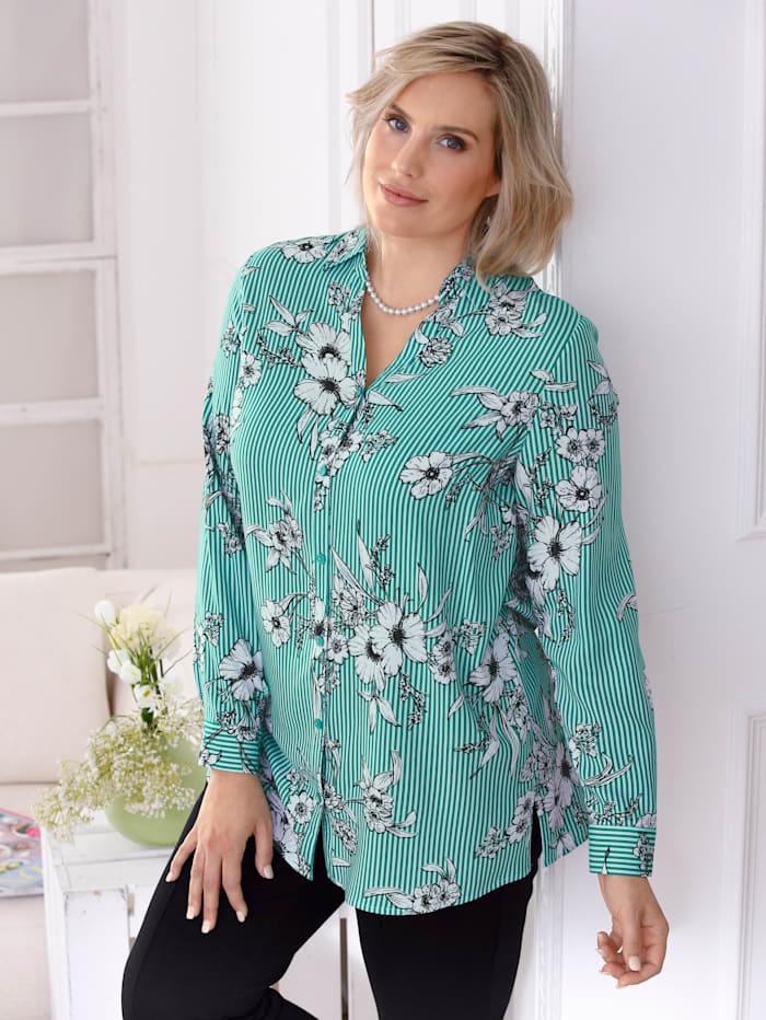 Bluse mit Streifen- und Blumendruckmuster