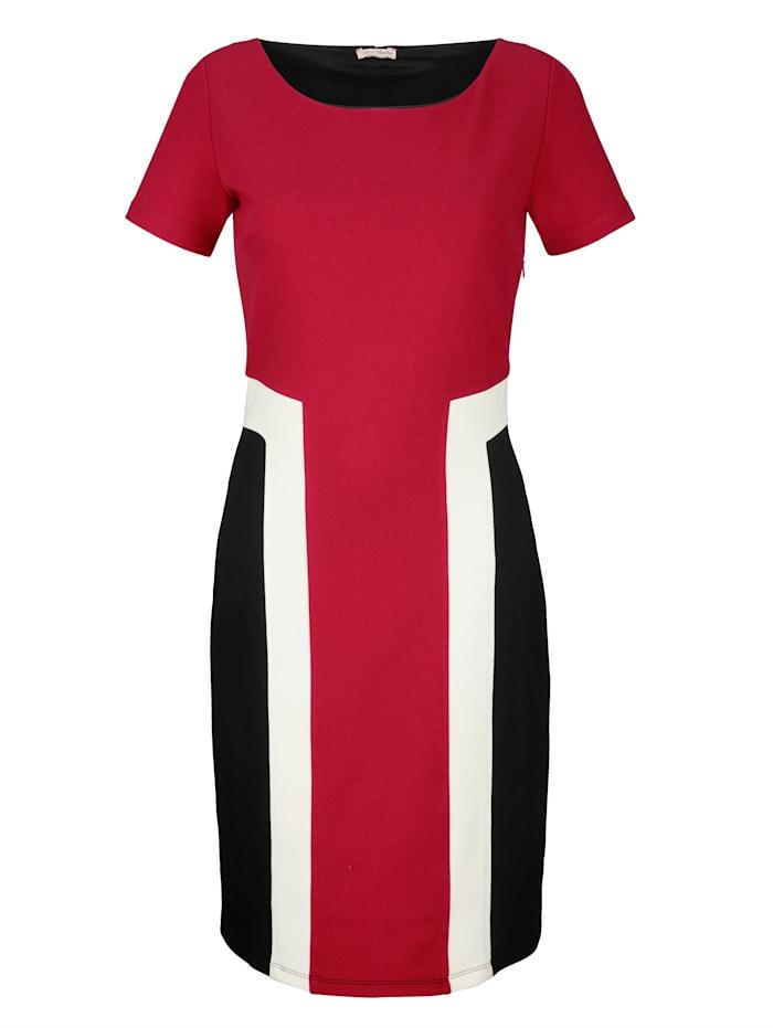 Alba Moda Jurk met colour blocking, Rood/Zwart/Wit